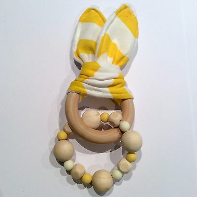 Natural Wood & Silicone Beads,Crinkle Sound Bunny Ears Teething Ring Toy, Yellow