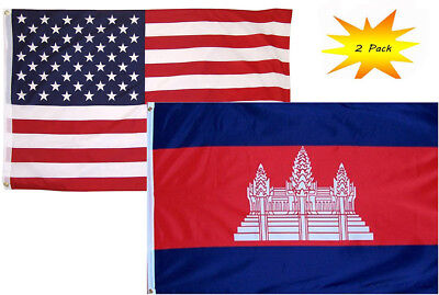 3/'x5/' Kingdom Of Cambodia Flag Angkor Wat National Outdoor Banner Asia King 3x5