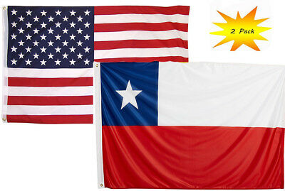 3x5 3'x5' Wholesale Set (2 Pack) USA American & Chile Country Flag Banner