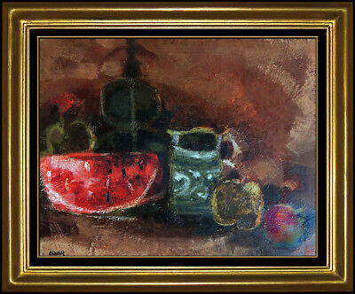 Sunol Alvar Original Oil Painting On Canvas Signed Still Life Fruit Framed Art