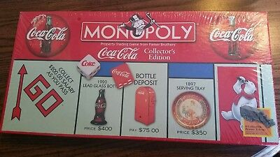 1999 Monopoly Coca-Cola Collectors Edition W/8 Collectible Pewter Tokens SEALED
