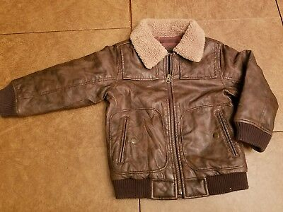 SIZE 4 toddler babyGAP faux leather bomber with shearling collar