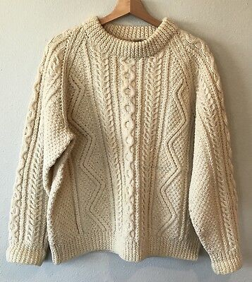 Vintage Mill Shop Johnstons Of Elgin Ivory Fisherman Cable Sweater Wool Scotland