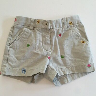 CREWCUTS Girls 6 Khaki Chino Twill Shorts Embroidered Bees Butterfly Strawberry