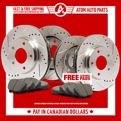 2010 2011 Toyota Rav 4 (See Desc.) Slotted Drilled Rotor & Ceramic Pads F+R