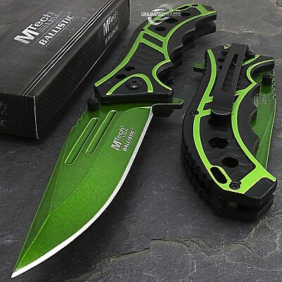 """MTECH USA 8.25"""" GREEN SPRING ASSISTED TACTICAL FOLDING POCKET KNIFE Assist Open"""