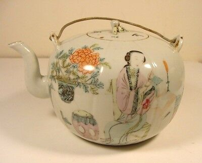 ANTQ Chinese FAMILLE ROSE MELON SHAPED TEA POT