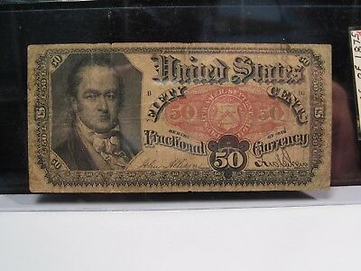1874-1876 5th Issue 50¢ Fractional Currency, FR.1381, Crawford Bust. #34