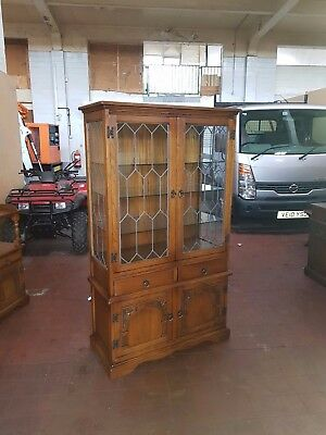 Old Charm/andrena Oak Leaded Lite Dresser/display/china Cabinet With Lighting