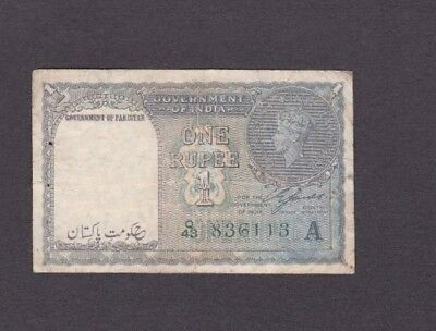 *British Government of Pakistan Banknote 1 Rupee 1948 P-1 AF George VI