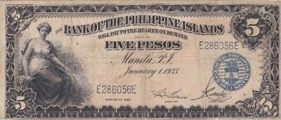 *Bank of The Philippines Islands Banknote 5 Pesos 1933 P-22 AF Manilla