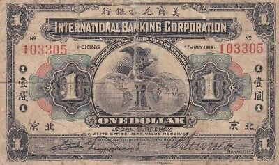 *China International Banking Corporation Banknote 1 Dollar 1919 P-S434 VG