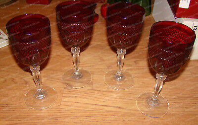 Crystal, Stemware (Ruby Red) Wine Glasses (D'Arques, French) Leaf, Pineapple (4)