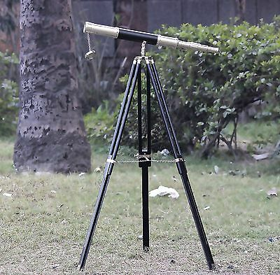 Maritime Decor Antique Vintage Nautical Kqw Chrome Telescope+Wooden Tripod Stand