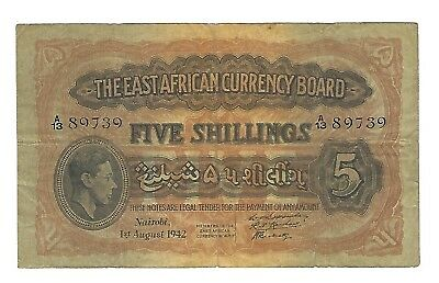 1942 East Africa 5 Shillings, India Print Serial Numbers P-28A, Rare Variety VF
