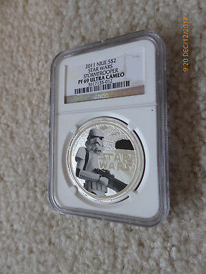 2011 STAR WARS 1oz proof pure fine silver coin Stormtrooper NGC PF69 UC Niue