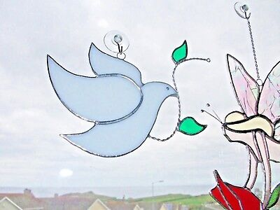 Stained Glass handmade dove of peace sun-catcher / window decoration