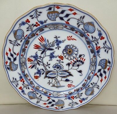 Excellent Meissen Rich Blue Onion Plate with Gilding