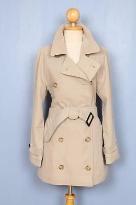 Womens BURBERRY Double Breasted Short TRENCH Coat Mac Beige 10/12