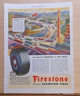 1945 magazine ad for Firestone Tires - Road of Tomorrow in City of Future