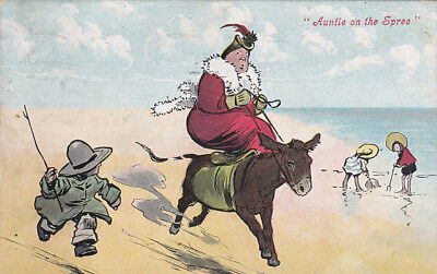 """""""Auntie on the Spree"""", Large woman riding side-saddle on a Donkey, PU-1907"""