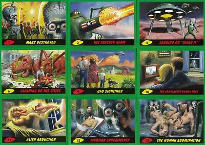 Mars Attacks Revenge 2017 Topps Base & Pencil Card Set Of 55 + 55 Sf