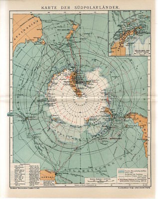 1909 ANTARCTICA SOUTH POLE GRAHAM LAND Antique Map dated