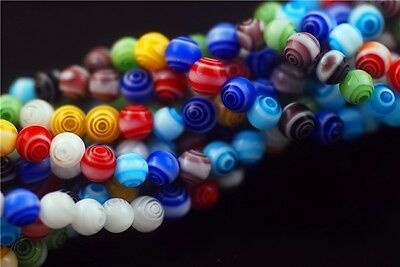 Charm Jewelry Multi-Color Flower Millefiori Glass Loose Beads 50pcs Findings 6mm