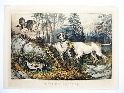 CURRIER & IVES 1870 Lithograph PARTRIDGE SHOOTING American Hunting Dog Birds