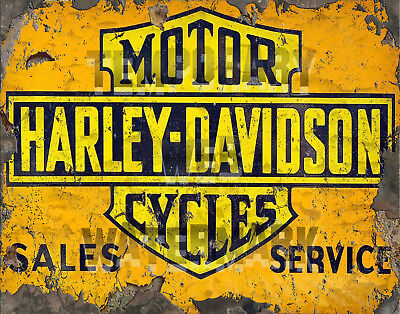 Restomod of Early Harley Davidson Motorcycle Framed Fine-Art Print of Sign 11x14