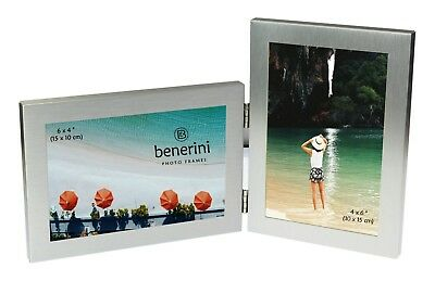 """2 Picture Double Folding Photo Frame Multi Aperture Collage Twin 6 x 4 """" 4 x 6 """""""