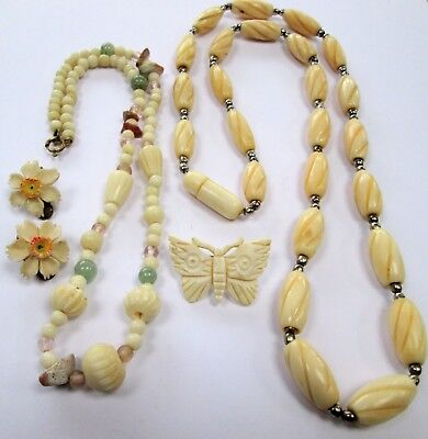 Long vintage carved bovine bone bead necklace + butterfly brooch + earrings + 1