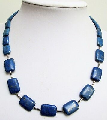 Good quality vintage silver metal & lapis glass bead necklace