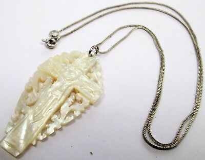Fine vintage carved m-o-p cross pendant + sterling silver chain