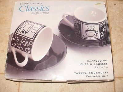 Cappuccino Cups and Saucers Set of 4 New in Box