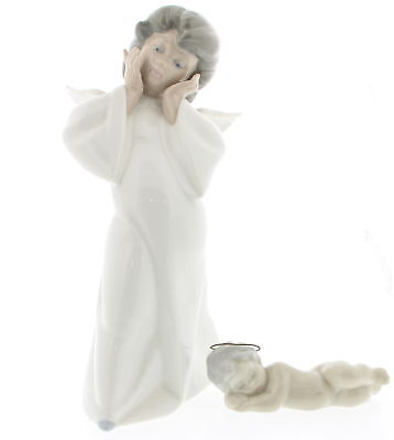 Lot Of 2 LLADRO Mime Angel & Sleeping Baby Boy With Halo Porcelain Figurines