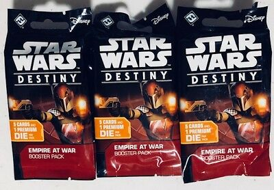 (3) Star Wars Destiny CCG Sealed Booster Pack Lot (x3) EMPIRE AT WAR Card Game