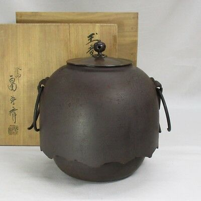 D907: Japanese quality iron teakettle with very good form by famous Shunsai Hata