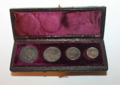 1873 4pc Silver Victorian Maundy Coin Set In Box
