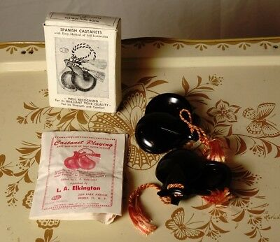 Vintage 1960's Elton Spanish Castanets W/ Instruction Book