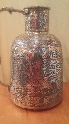 Islamic antique brass copper lots of silver cairoware jug middle eastern mamluk