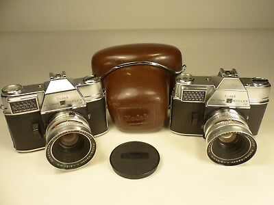 (2)German Kodak Retina Reflex IV Cameras with (2)1.9,50mm lenses,Case,Cap