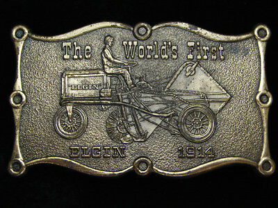 PL15134 VINTAGE 1970s *THE WORLD'S FIRST ELGIN 1914* TRACTOR COMPANY BELT BUCKLE