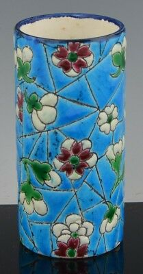 Antique LONGWY French Art Pottery Art Deco Miniature Cylindrical Vase NR