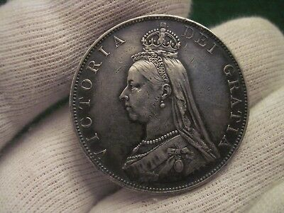 1887 Double Florin Victoria Toned Old English Silver Coin