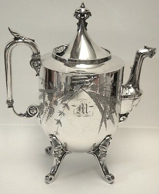Victorian Aesthetic Movement REED & BARTON 2576 Silver Plated Tea Pot w/ Bird