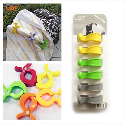 LAT 6-pack Pram Pegs Stroller Pegs Clips To Hook Muslin Toys Car Seat Cover Clip