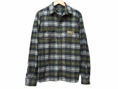 AUTH DSQUARED2 Flannel check Long sleeve shirt Green wool Size46 Men's 0446