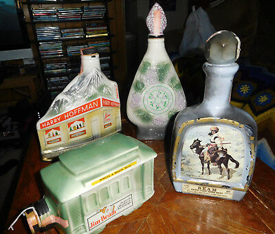 Vintage lot 4 Whiskey Jim Beam Ceramic Decanters Bottle Harry Hoffman Lombard IL