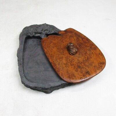 D922: Chinese sculptured ink stone with fantastic wooden cover of TAMAMOKU